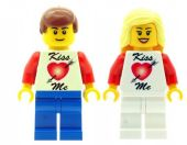 Boy and Girl with Kiss Me T-Shirt. Perfect for Valentines Day - Custom Designed Minifigures